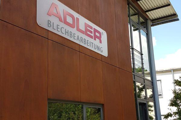 Adler Blechbearbeitung Verwaltung neues Schild